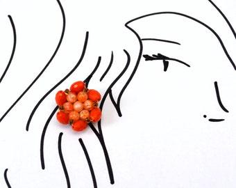 Vintage Orange Cluster Clip-On Earrings