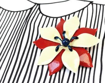 Vintage Enamel Flower Brooch - Red Blue Cream