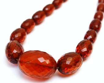 """Art Deco BAKELITE Necklace - Vintage Faceted Amber Beads - 17"""" Graduated Beaded Choker"""