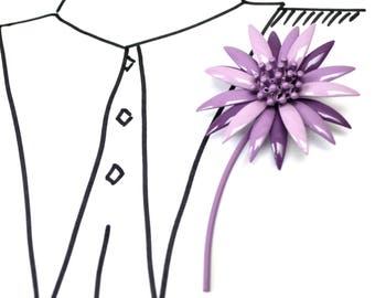 Vintage Purple Enamel Flower Brooch - Floral Pin with stem