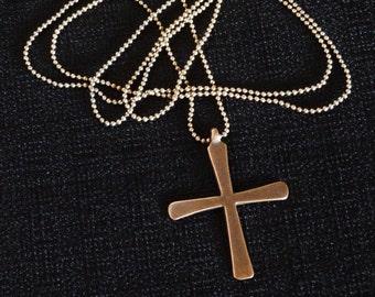 Coptic Cross on micro ball chain necklace pendant