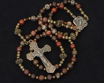 Catholic Rosary - Poppy Jasper - vintage replica bronze crucifix and Miraculous Medal center piece.
