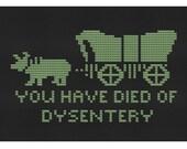 cross stitch pattern Died on the Oregon Trail