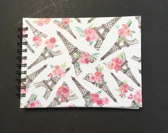 Feminine Journal 6x8 in. 120 pg. everyday carry book hand bound. Blank book junk journal ready to ship. Galentine or Valentine