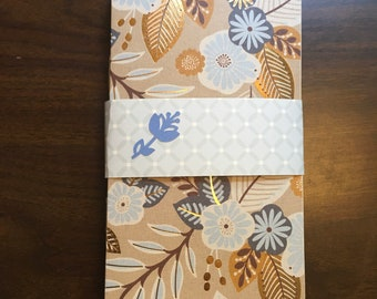 5x9 inch junk journal. Blues, browns, greens. Feathers, women, crystals, geometric, flowers. blank book 48 pages 10 pockets ready to ship