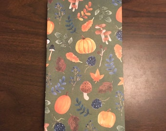 5x9 inch junk journal. Blues, browns, greens. Ready to ship diary journal blank book. Harvest Autumn Fall theme. pumpkin spice book