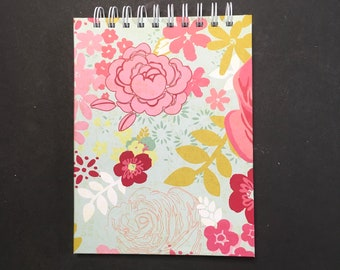 Feminine Journal 6x8 in. 70 pg. everyday carry book hand bound. Blank book junk journal ready to ship. Galentine or Valentine