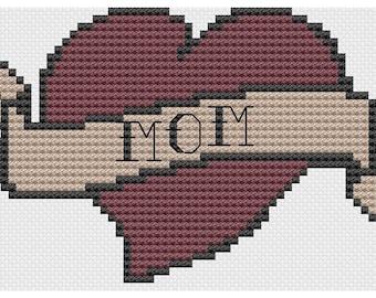 Mom tattoo heart cross stitch pattern pdf