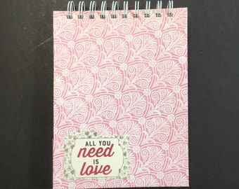 Valentine Journal 6x8 in. 80 pg. everyday carry book hand bound. Blank book junk journal ready to ship