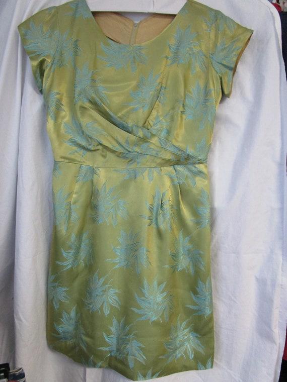 Vintage Satin Green & Blue Floral Jacquard Dress,