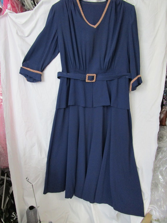 Vintage 1940-50 Navy Rayon dress with matching Bel
