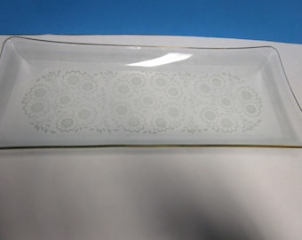 Glass oblong floral serving tray with gold rim