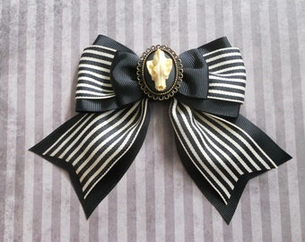 Gothic Lolita hair bow wolf skull cameo on a stripe bow