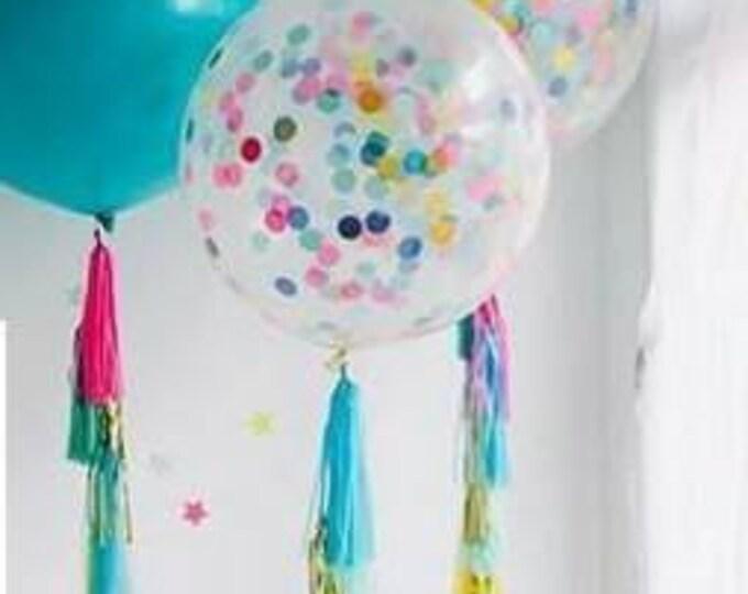 Custom confetti Balloon with tassel garland tail.Confetti balloon,Custom balloon,Tassel tail balloon,Tassel balloon,Clear confetti balloon
