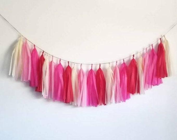 Tassel Garland,Pink tassel garland,tissue paper garland,valentine garland,valentine banner,Valentine decoration,Pink and red,custom garland
