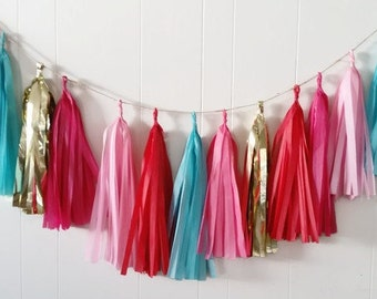 Tassel garland,Pink tassel garland,Pink and red garland,Teal garland,Candy party,Birthday party garland garland, Tissue paper garland,