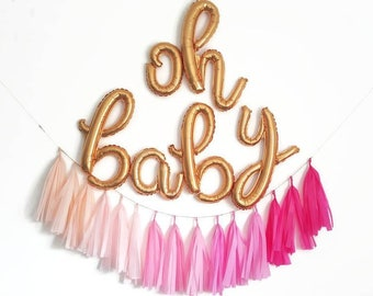 Oh Baby letter balloon banner,oh baby balloons,baby shower balloons,baby shower Garland,baby shower decorations,baby girl baby shower ideas