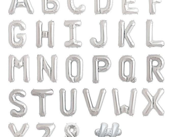 "16""Silver metallic letter balloons,Silver number balloons,Alphabet letter balloons,Silver letters,Custom name balloons,Custom balloon banner"