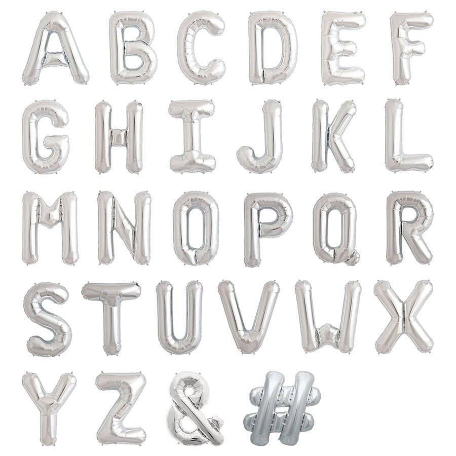 16silver metallic letter balloonssilver number balloonsalphabet letter balloonssilver letterscustom name balloonscustom balloon banner