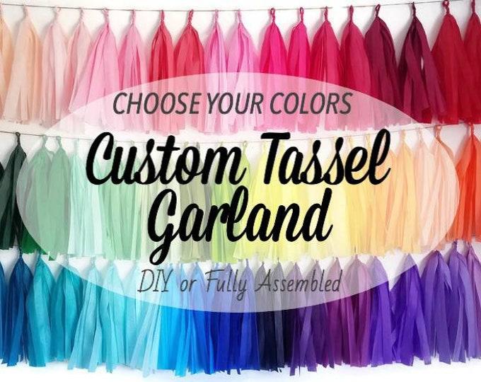 Custom color tassel garland,Choose your color tassel garland,tissue paper tassel garland,Fully assembled tassel garland,D.I.Y tassel garland