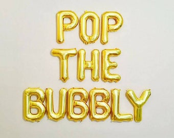 Pop the bubbly balloon banner,bubbly bar balloon banner,bubbly bar,bridal shower ideas,bridal shower,bachelorette party,champagne bar,
