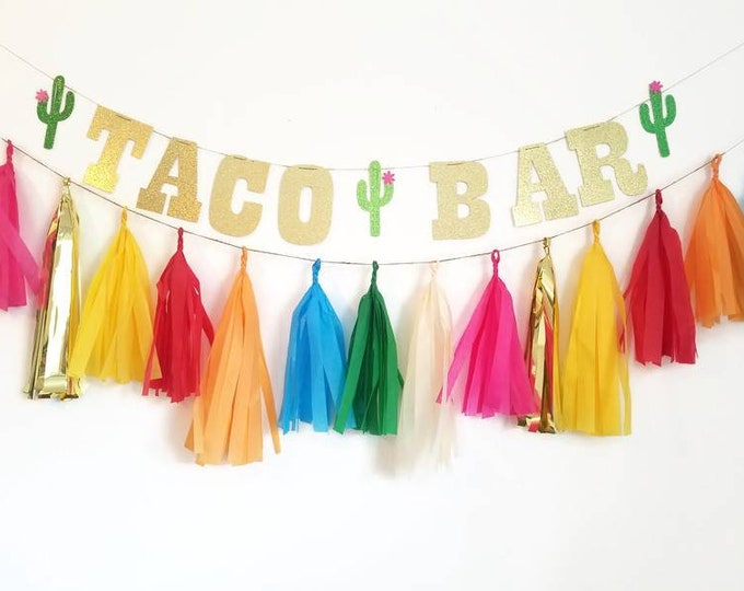 Taco bar banner,taco bout a party,fiesta,taco party,taco Tuesday,fiesta decorations,custom banner, tissue paper tassel,custom glitter banner