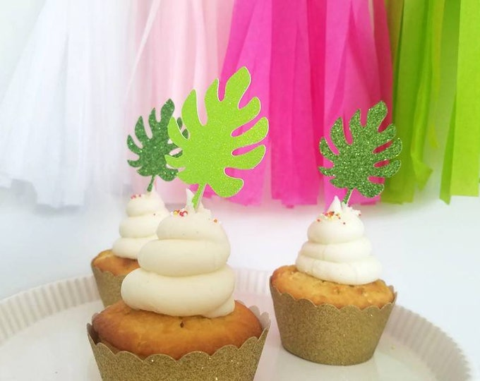 Palm leaf cupcake topper, tropical leaf cupcake topper, leaf cupcake topper,tropical leaf cupcake pick,luau cupcake, luau party,tropical