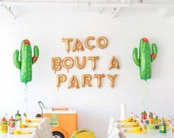 Taco bout a party!fiesta party,taco party,fiesta,fiesta balloons,Cinco de Mayo,taco party decoration,custom banner,taco Tuesday,taco bar