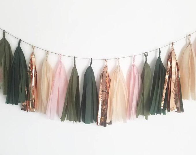 Tissue paper tassel,Tassel Garland,eucalyptus wedding, eucalyptus decorations,green and pink Garland,bridal shower wedding,baby shower