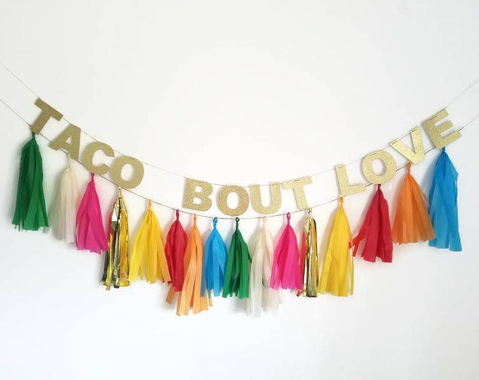Taco bout love,taco bout a party,fiesta bachelorette,taco party,garland,tassel garland,taco bar,bridal shower decoration,custom banner,taco