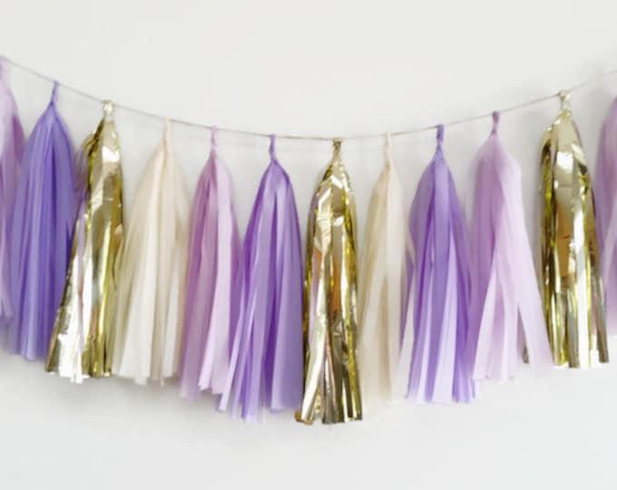 Tassel Garland,Purple and gold Garland,Violet tassel garland,gold and purple fringe,birthday Garland,wedding Garland,bridal shower Garland