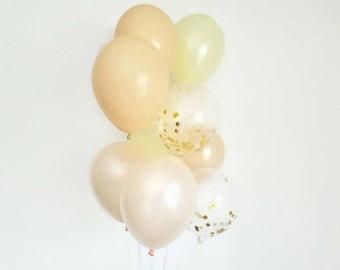 Confetti balloon set,balloon bouquet,confetti balloon bouquet,blush balloon set,ivory party balloons,wedding balloons,bridal shower decor