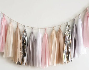 Silver pink tassel garland,blush tassel garland,Nude garland,blush wedding Garland,blush bridal shower Garland,silver tassel Garland,wedding