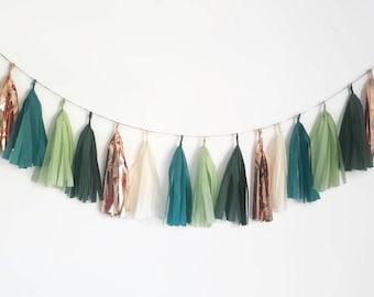 Tissue paper tassel,Tassel Garland,eucalyptus wedding, eucalyptus decorations,green Tassel Garland,green and gold Tassel Garland,wedding
