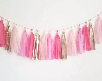 Pink tassel garland,Blush tassel garland,Valentines day,Valentines garlandTassel Garland,Wedding garland,Rose gold garland,Baby shower,Pink