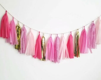 Pink tassel garland,tassel garland,pink birthday decorations,Girls birthday decoration,Pink garland,Pink, polka dots,polka dot garland,