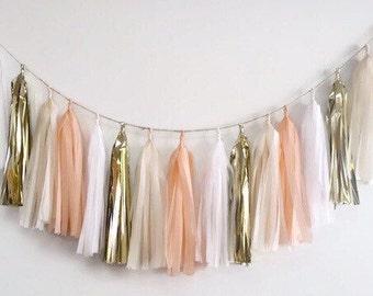 Peach tassel garland,gold tassel garland,champagne fringe,nude tassel,wedding garland,Bridal shower garland, nursery garland