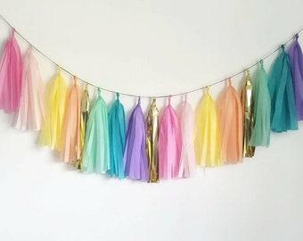 Unicorn birthday banner,Unicorn tassel Garland,Rainbow garland,tassel garland,Pastel garland.unicorn party,Unicorn birthday party