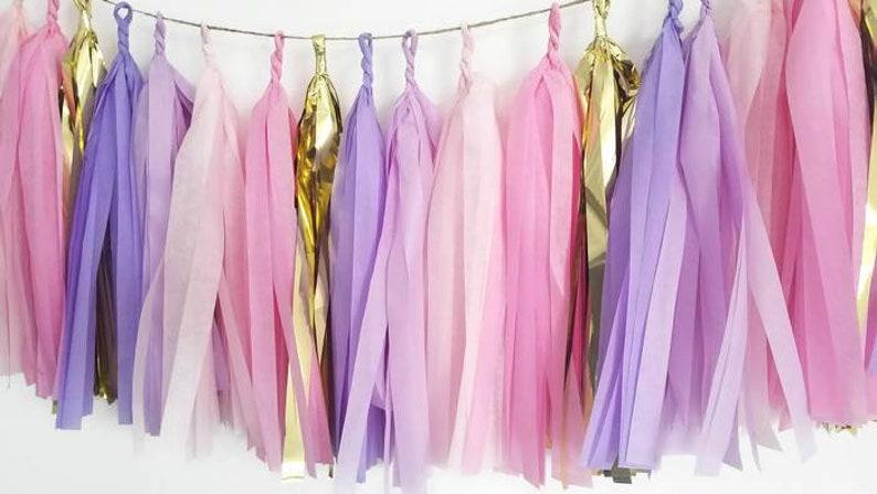 Tissue paper tassel,Tassel garland,Pastel tassel garland,Pink and purple garland,Girls party,Birthday party garland,Pink garland,Princess