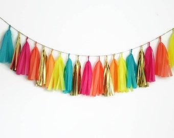 Tissue paper tassel garland,tassel garland,tassel fringe,custom garland,neon garland,glow party,fiesta,birthday decoration,birthday garland