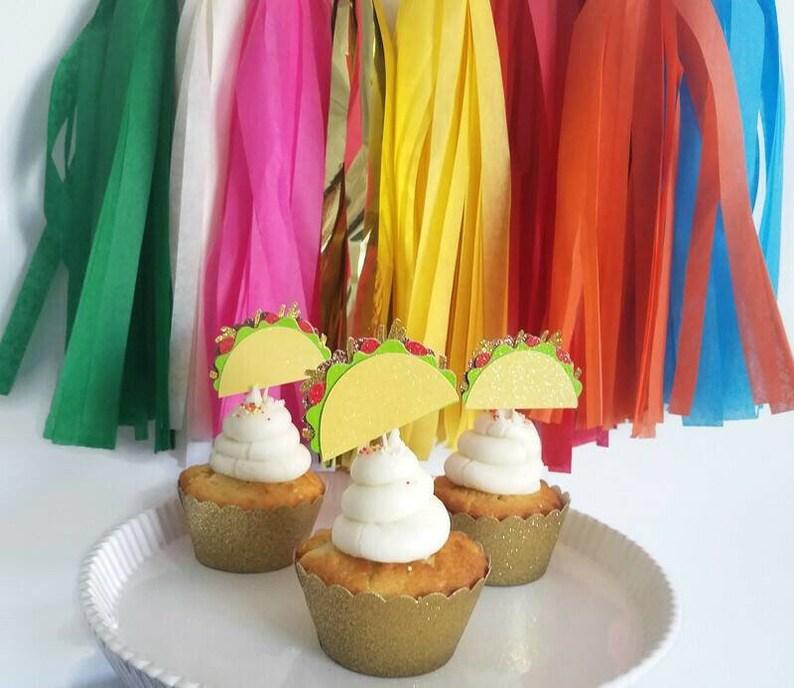 Taco cupcake toppertaco cupcake picktaco partytaco image 1