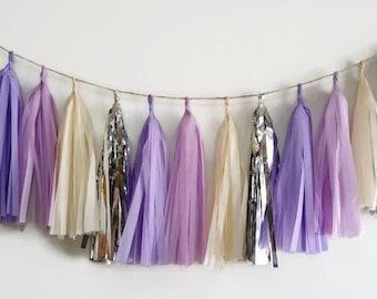 Lavender tassel Garland,shiny silver purple tassel,lilac purple Garland,lavender and silver,birthday party decorations,wedding shower,lilac