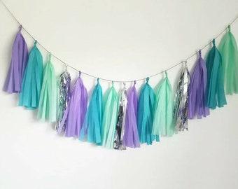 Tassel Garland,purple tassel garland,teal tassel garland, mermaid garland,birthday garland, mermaid party,mermaid garland,mermaid decoration