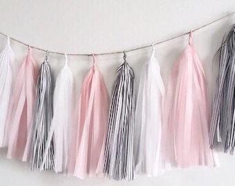 Pink and white tassel garland,Pink and black tassel garland,Pink fringe,black and white tassel,birthday garland,baby shower garland,stripes