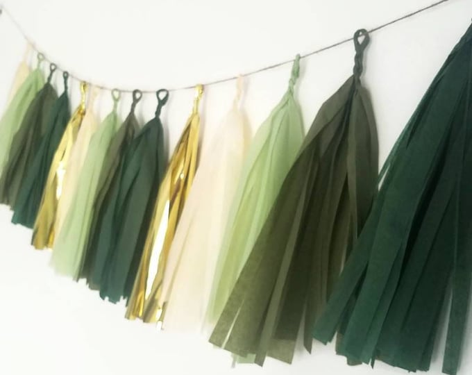 Tissue paper tassel,Tassel Garland,eucalyptus wedding, eucalyptus decorations,green Tassel Garland,Sage green Garland,gold and green wedding