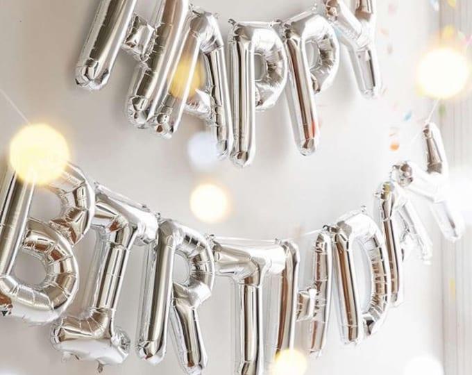 Happy Birthday Letter Balloons,Happy Birthday balloon banner,Happy Bday balloons,Birthday Decorations,silver Letter Balloons,Mylar Balloons