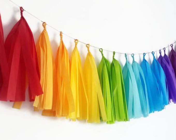 Rainbow tassel,rainbow tassel garland,rainbow Garland,rainbow tissue paper Garland,rainbow birthday,rainbow party,rainbow decorations
