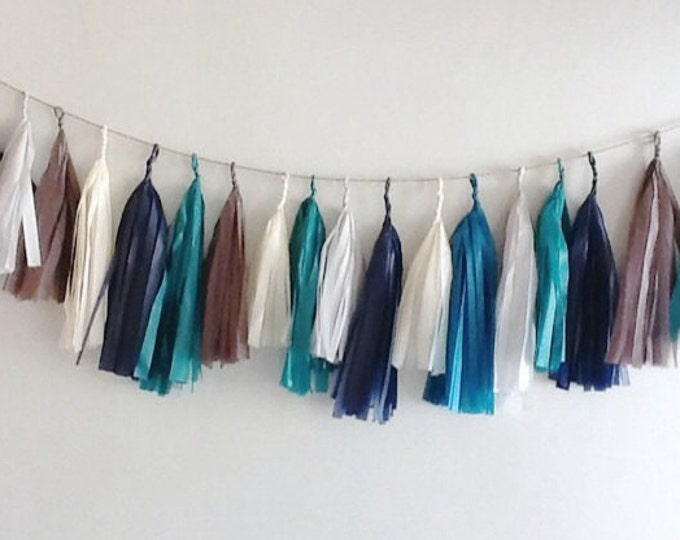 Tassel garland, blue tassel garland, navy blue garland, blue grey garland, baby boy garland, blue fringe, wedding garlands, baby shower