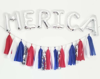 Merica,4th of July Decoration, 4th of July,Red white and blue,America,Independence day,Murica,4th of July party,4th of July balloons,garland