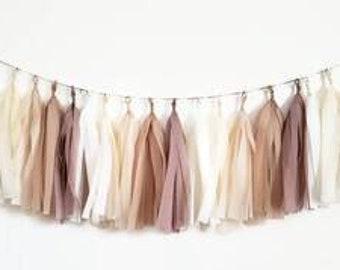 Tissue paper tassel Garland,  Tassel garland,boho tassel garland,nude tassel Garland, bridal shower,baby shower,boho decorations,bachelorett